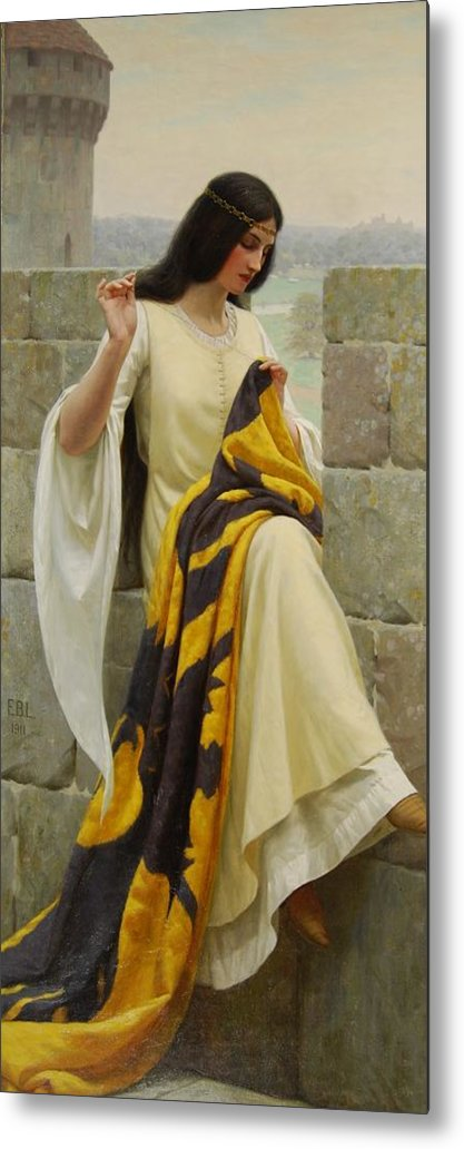 Stitching The Standard Metal Print featuring the painting Stitching The Standard by Edmund Blair Leighton