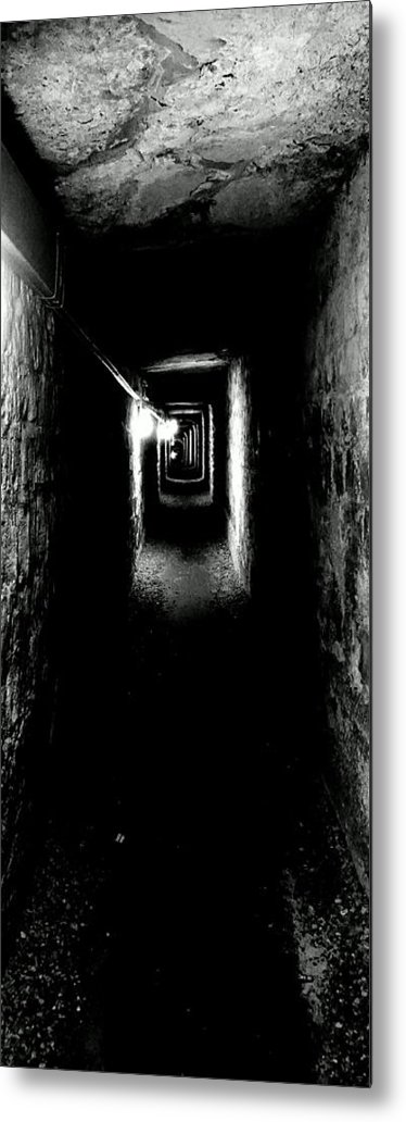 Paris Metal Print featuring the photograph Altered Image Of The Catacomb Tunnels Paris France by Richard Rosenshein