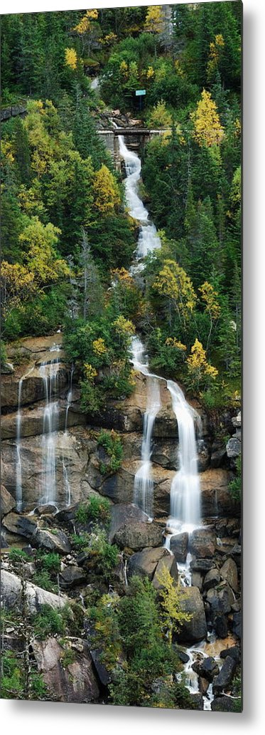 Landscape Metal Print featuring the photograph Skagway Waterfall Vertical Panorama by Michael Peychich