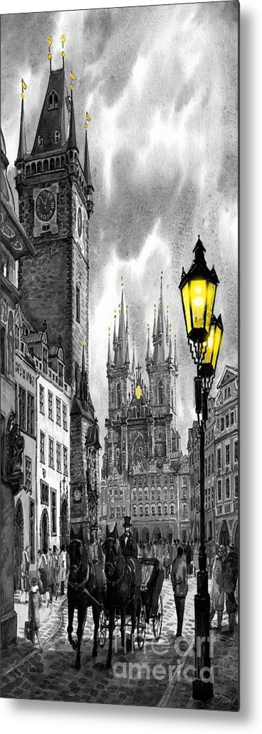 Geelee.watercolour Paper Metal Print featuring the painting Bw Prague Old Town Squere by Yuriy Shevchuk