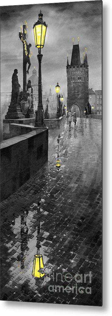 Prague Metal Print featuring the painting Bw Prague Charles Bridge 01 by Yuriy Shevchuk