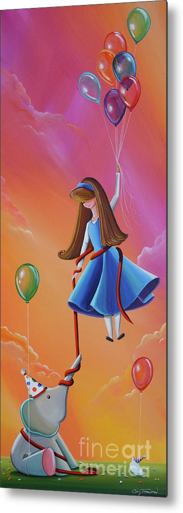 Elephant Metal Print featuring the painting Getting Carried Away by Cindy Thornton