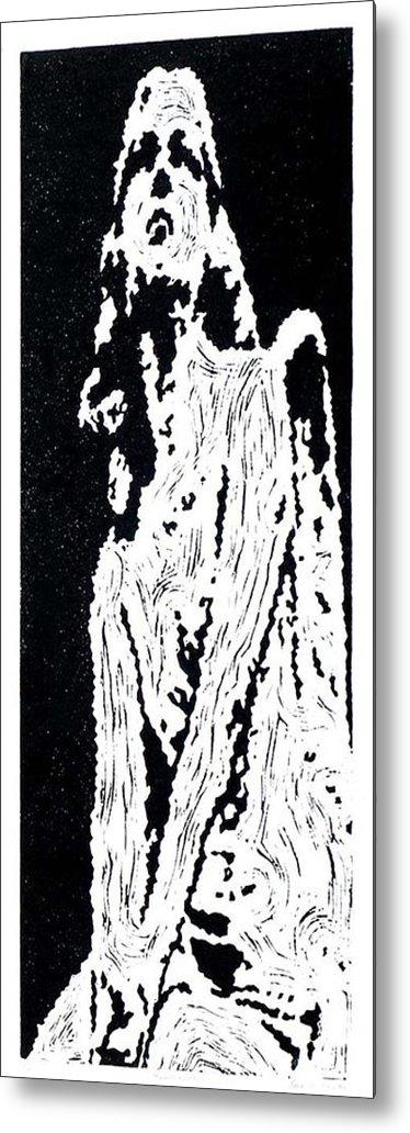 Black Metal Print featuring the painting Heavenward -- Hand-pulled Linoleum Cut by Lynn Evenson