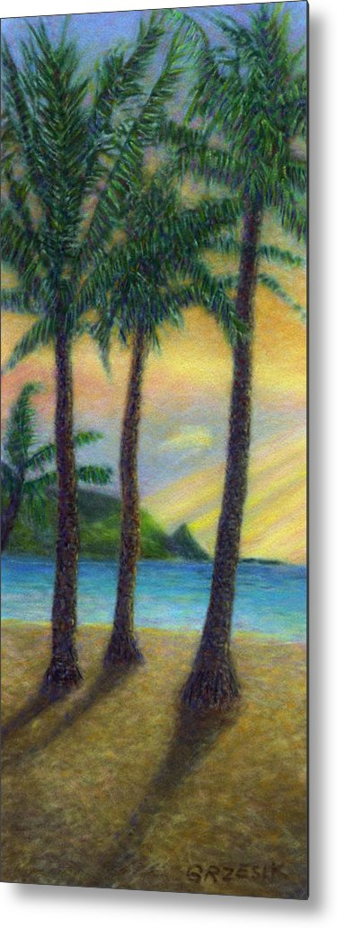 Rainbow Colors Pastel Metal Print featuring the painting Sunset Palms by Kenneth Grzesik