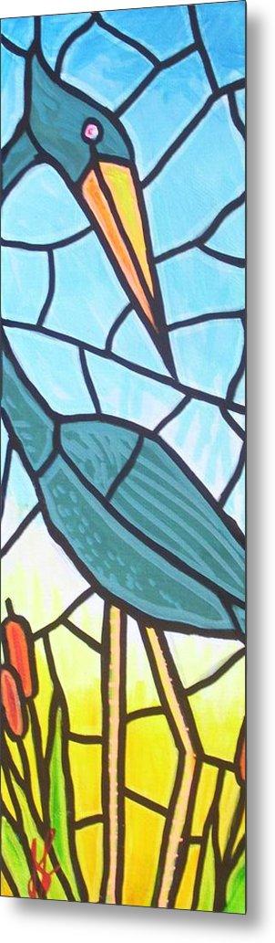 Heron Metal Print featuring the painting Blue Heron by Jim Harris