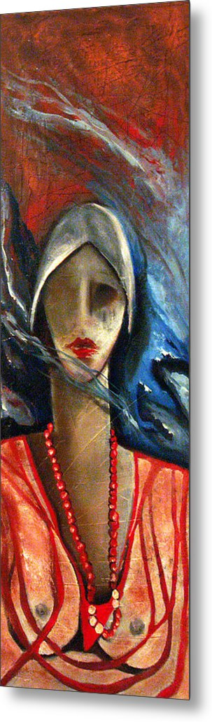 Red Pearls Woman Semi Nude Metal Print featuring the painting Red Pearls by Niki Sands