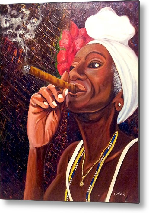 Cuban Art Metal Print featuring the painting  Cigar Lady by Jose Manuel Abraham