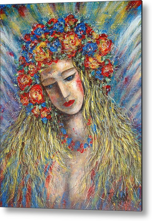 Painting Metal Print featuring the painting The Loving Angel by Natalie Holland
