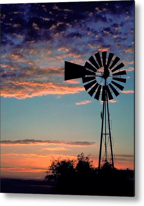 Windmill Metal Print featuring the photograph Windmill At Dawn by David and Carol Kelly