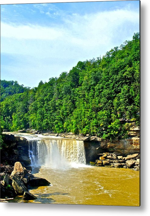 Tennessee Metal Print featuring the photograph Cumberland Falls by Frozen in Time Fine Art Photography