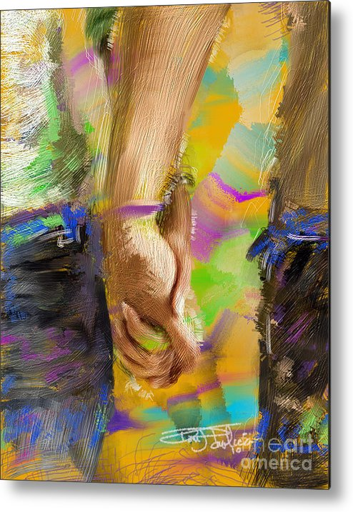 Colorful Metal Print featuring the painting Holding Hands by Donald Pavlica
