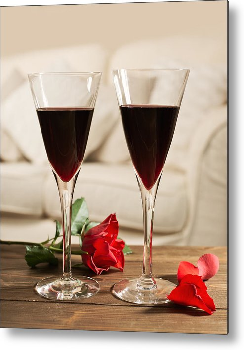 Red Metal Print featuring the photograph Red Wine And Roses by Amanda Elwell
