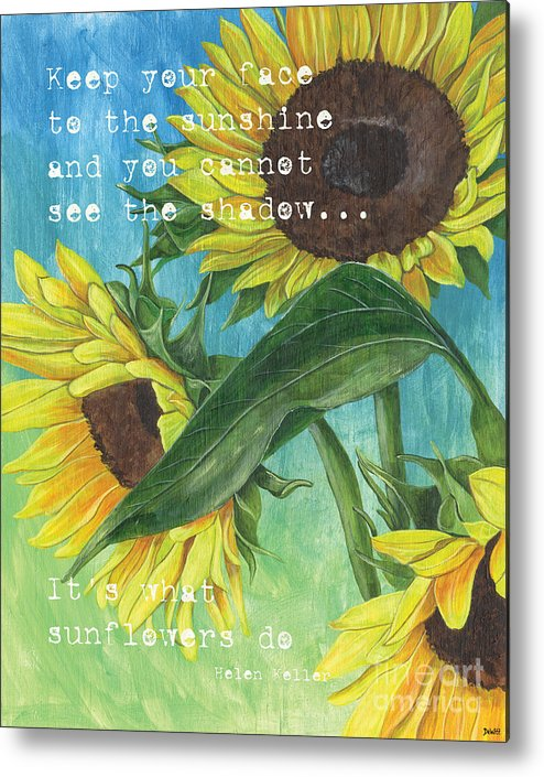 Flowers Metal Print featuring the painting Vince's Sunflowers 1 by Debbie DeWitt