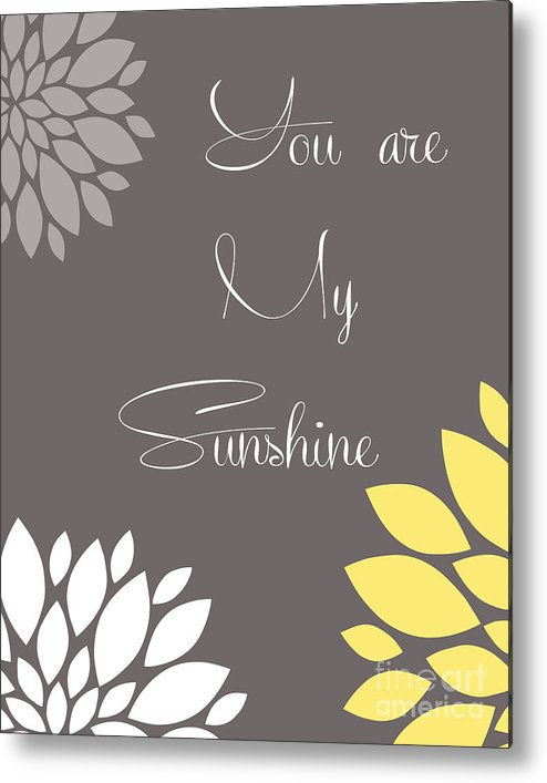 You Metal Print featuring the digital art You Are My Sunshine Peony Flowers by Voros Edit