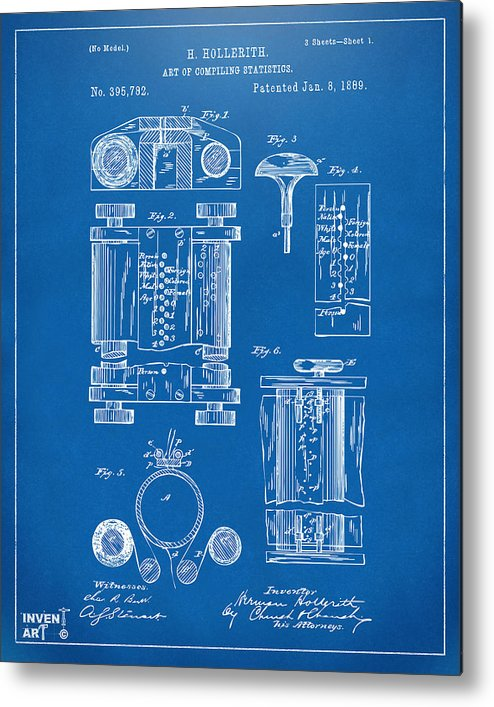 1889 first computer patent blueprint metal print by nikki marie smith first computer metal print featuring the digital art 1889 first computer patent blueprint by nikki marie malvernweather Images