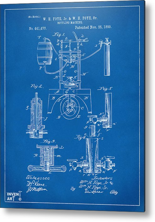1890 bottling machine patent artwork blueprint metal print by nikki bottling machine metal print featuring the digital art 1890 bottling machine patent artwork blueprint by nikki malvernweather Choice Image
