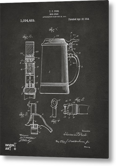Beer Stein Metal Print featuring the digital art 1914 Beer Stein Patent Artwork - Gray by Nikki Marie Smith