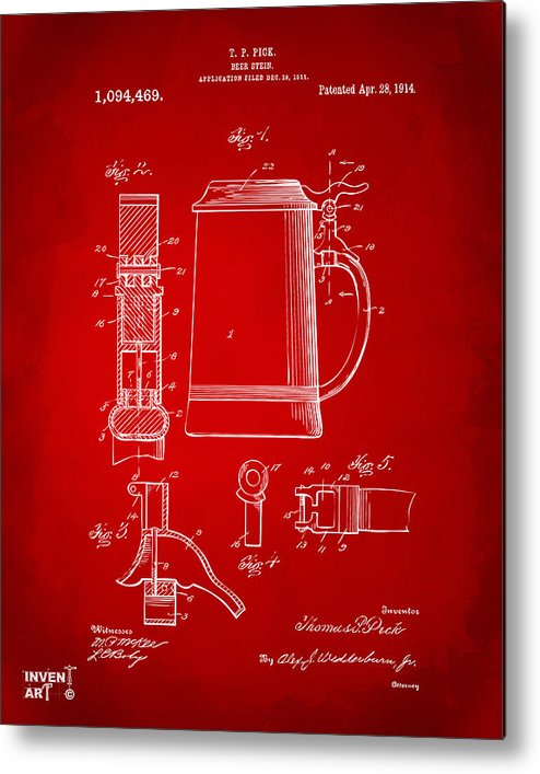 Beer Stein Metal Print featuring the drawing 1914 Beer Stein Patent Artwork - Red by Nikki Marie Smith