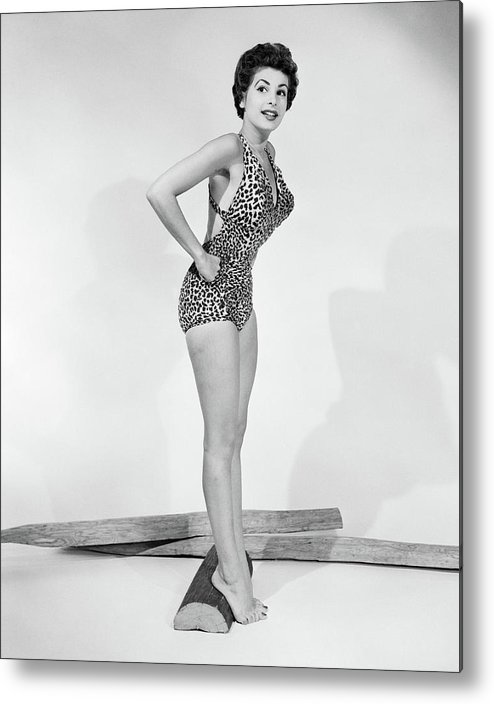 Photography Metal Print Featuring The Photograph 1950s Pin Up Portrait Of Smiling Woman By Vintage