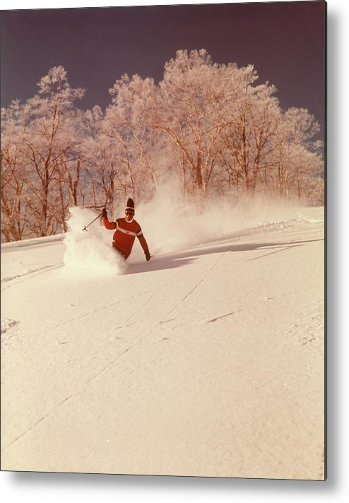 Photography Metal Print featuring the photograph 1960s 1970s Man Skier Shushing by Vintage Images