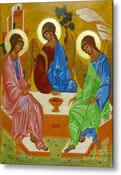 Icon Metal Print featuring the painting Old Testament Trinity by Joseph Malham