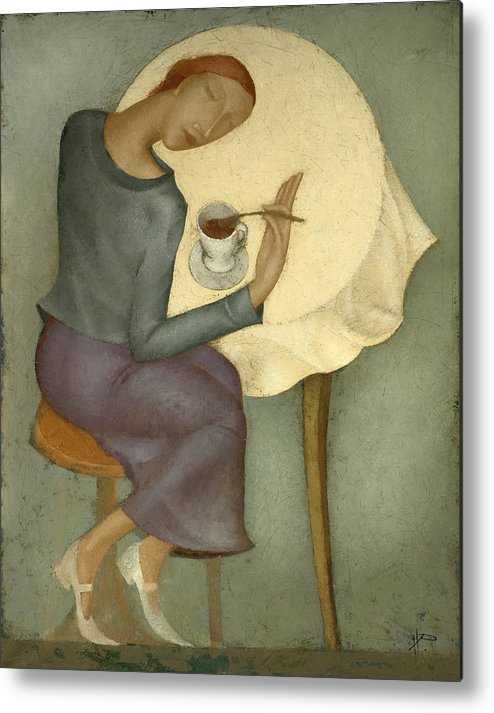 Morning Metal Print featuring the painting Morning Coffee by Nicolay Reznichenko