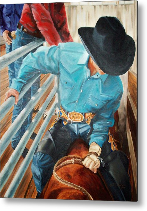 Cowboy Metal Print featuring the painting 8 Second Addiction by Scott Alcorn