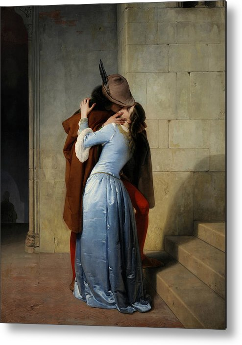 Francesco Hayez Metal Print featuring the painting The Kiss by Francesco Hayez
