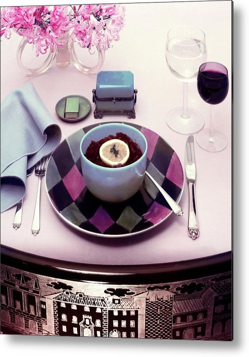 Studio Shot Metal Print featuring the photograph A Bowl Of Food On A Pink Table by Haanel Cassidy