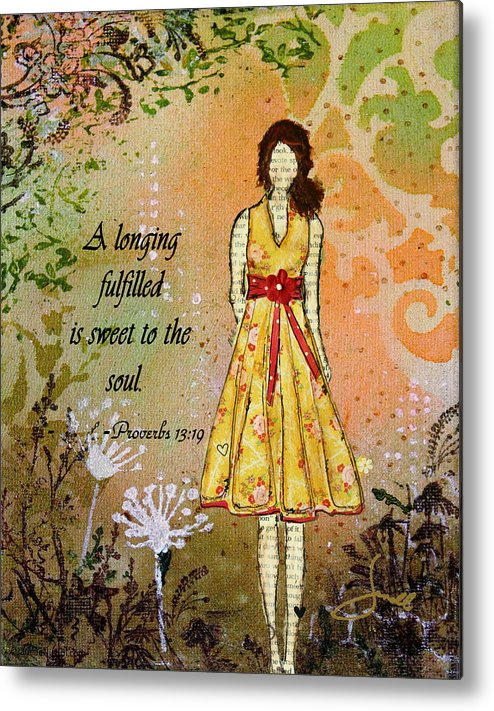 Unique Metal Print featuring the mixed media A Longing Fulfilled by Janelle Nichol