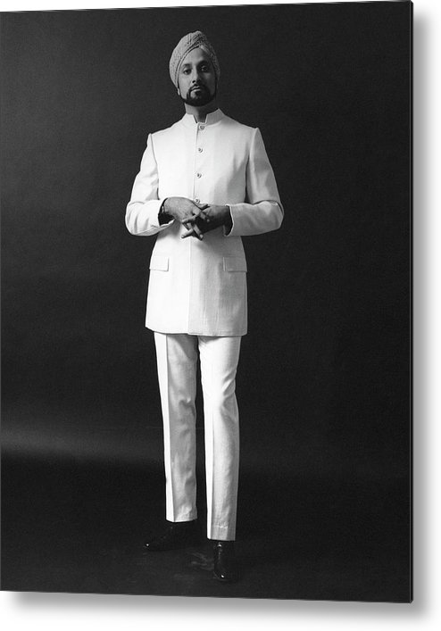 Fashion Metal Print featuring the photograph A Male Model Wearing A Custom-tailored Gaberdine by Leonard Nones