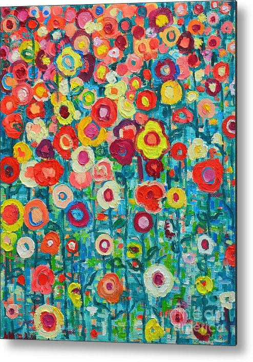 Abstract Metal Print featuring the painting Abstract Garden Of Happiness by Ana Maria Edulescu