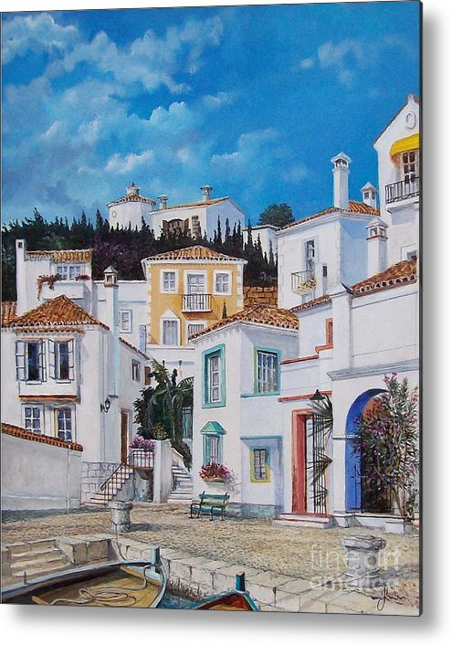 Cityscape Metal Print featuring the painting Afternoon Light In Montenegro by Sinisa Saratlic