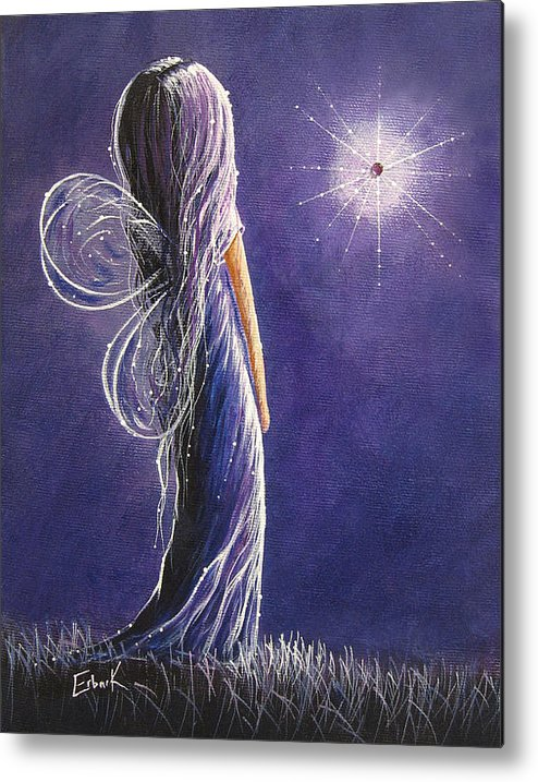 Fairies Metal Print featuring the painting Amethyst Fairy By Shawna Erback by Shawna Erback