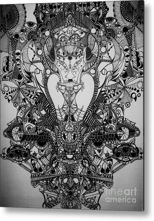 Michael Kulick Metal Print featuring the drawing Antichrist by Michael Kulick