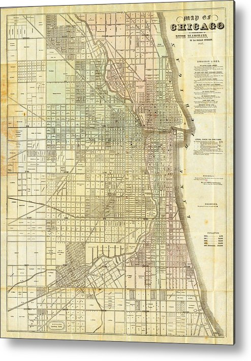 World Metal Print featuring the painting Antique Map Of Chicago by Celestial Images