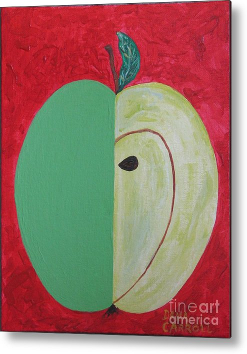 Apple Paintings Metal Print featuring the painting Apple In Two Greens 02 by Dana Carroll