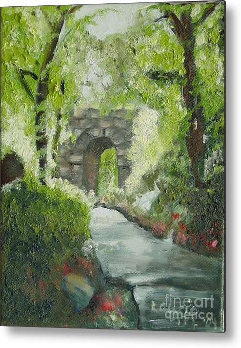 New York Metal Print featuring the painting Archway In Central Park by Laurie Morgan