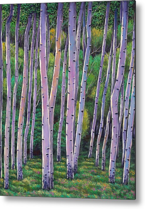 Autumn Aspen Metal Print featuring the painting Aspen Enclave by Johnathan Harris