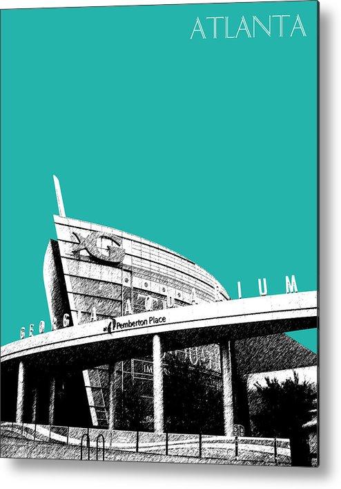 Architecture Metal Print featuring the digital art Atlanta Georgia Aquarium - Teal Green by DB Artist