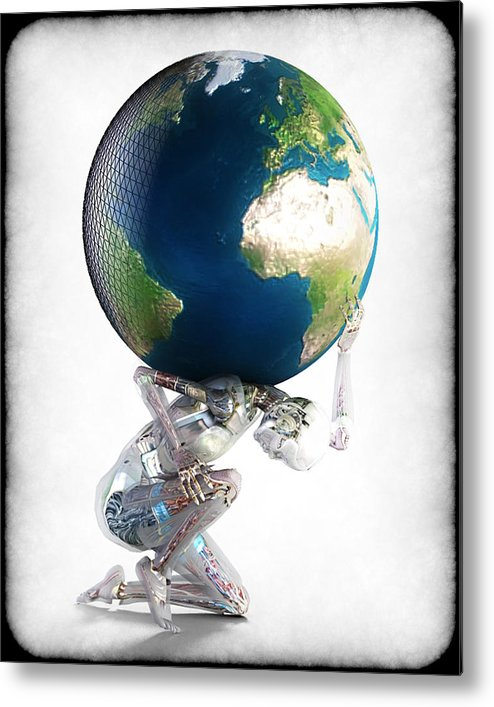 World Metal Print featuring the digital art Atlas 3000 by Frederico Borges