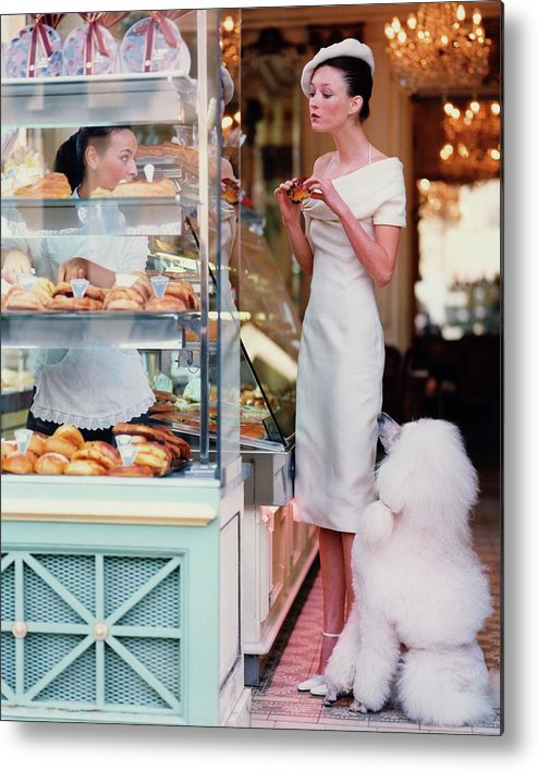Accessories Metal Print featuring the photograph Audrey Marnay At A Patisserie With A Poodle by Arthur Elgort