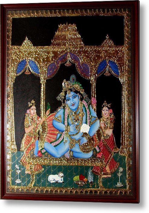 Tanjore Metal Print featuring the painting Balakrishna by Jayashree