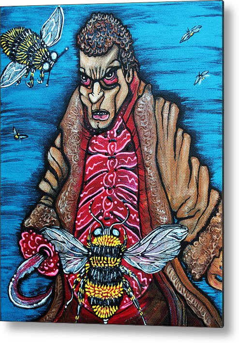 Candyman Metal Print featuring the painting Bee Candy by Laura Barbosa