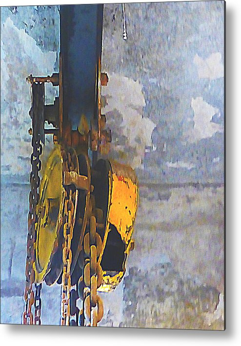 Abstract Metal Print featuring the digital art Block And Tackle by Barbara Tabachnick
