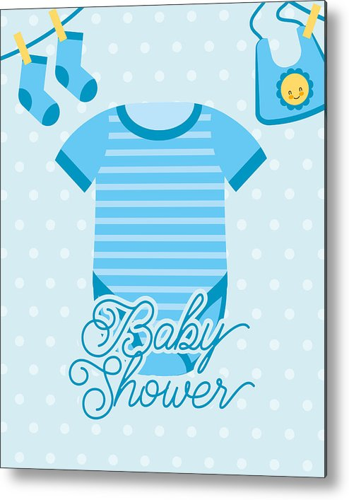 photo about Baby Shower Card Printable named Blue Bodysuit And Socks Bib Boy or girl Shower Card Metallic Print