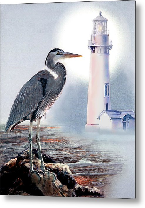 Architecture Metal Print featuring the painting Blue Heron In The Circle Of Light by Regina Femrite
