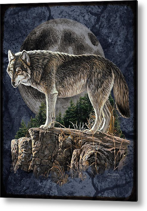 Bruce Miller Metal Print featuring the painting Bm Wolf Moon by JQ Licensing