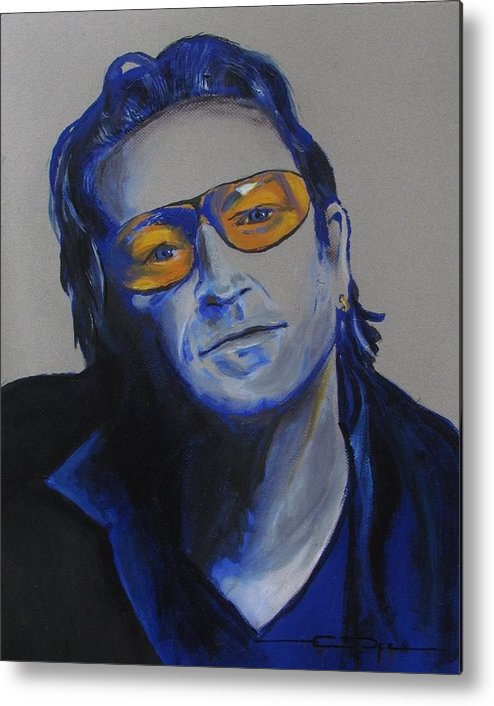 Celebrity Portraits Metal Print featuring the painting Bono U2 by Eric Dee