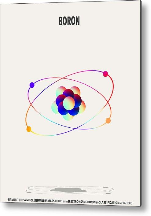 Boron Metal Print featuring the digital art Boron - Element Art by Finlay McNevin